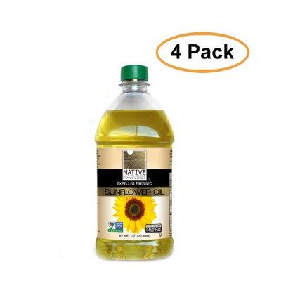 Native Harvest Expeller Pressed High Oleic Non-GMO Sunflower Oil, 2 Liters (67.6 FL OZ), 4 Pack