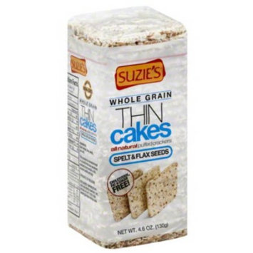 Suzie's Thin Cakes Spelt & Flax Seeds Puffed Crackers, 4.6 oz (Pack of 12)