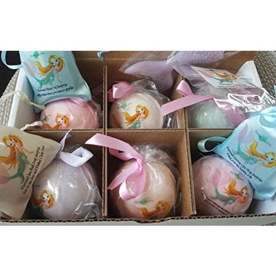 KIDS BATH BOMBS WITH GLITTER SURPRISES, 6 MERMAID SPLASH Bubble Bath Fizzy Gift Set, 6 XL USA Made, Perfect Bubble Bath, Handmade, Birthday Gift idea for Girls, Spa Parties, women, girlfriend