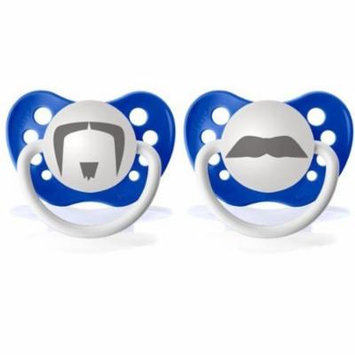 Personalized Pacifiers Fu Manchu and Chevron Mustache Pacifier Set, Dark Blue