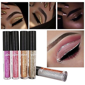 Creazy 6 Pcs Metallic Shiny Smoky Eyes Eyeshadow Waterproof Glitter Liquid Eyeliner