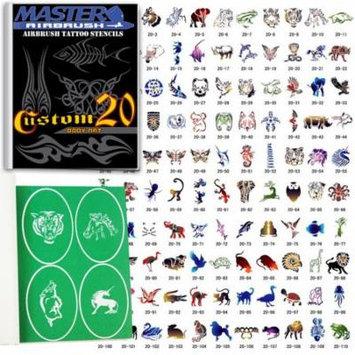 SET 20 BOOK 110 Reusable Airbrush Temporary Tattoo Stencil Art Designs Templates