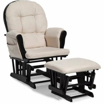 Storkcraft Bowback Hoop Glider and Ottoman Black with Beige Cushions