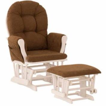 Storkcraft Hoop Glider and Ottoman White with Chocolate Cushions