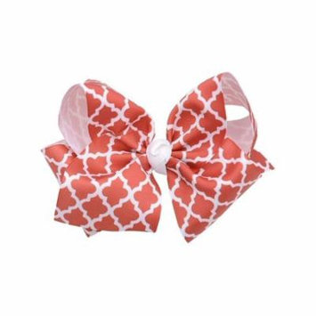 Reflectionz Girls Light Red White Ribbon Knot Grosgrain Large Clippie Accessory