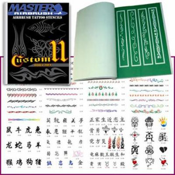 SET 11 BOOK 116 Reusable Airbrush Temporary Tattoo Stencil Art Designs Templates