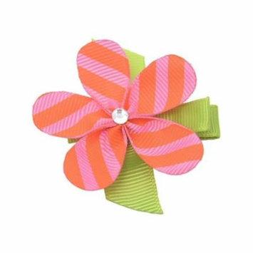 Girls Orange Pink Striped Grosgrain Petaled Flower Alligator Hair Clippie