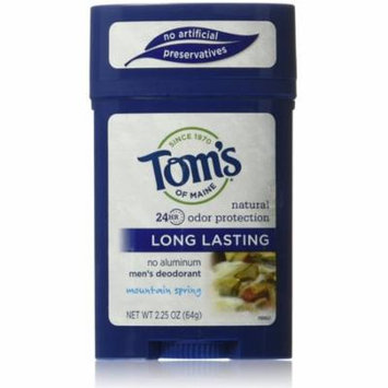 Tom's of Maine Men's Long Lasting Deodorant, Mountain Spring 2.25 oz (Pack of 6)