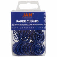 JAM Paper Papercloops - Round Circular Paperclips - Dark Blue / Navy - 50/pack