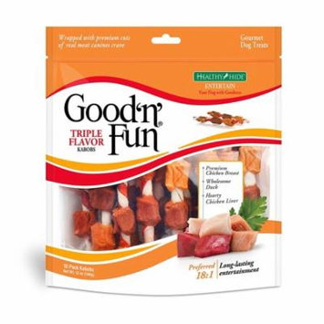 Good'n'Fun Triple Flavored Rawhide Kabobs Dog Treats, 12-Ounce