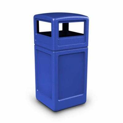 Commercial Zone Products 73290499 42-gallon Square Waste container with Dome Lid Blue
