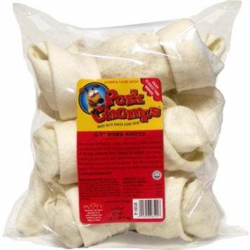 Scott Pet Premium Pork Chomps DT201-6 Natural Baked Pork Skin Knot Dog Treat, 6 to 7 Inch, 3/Pack