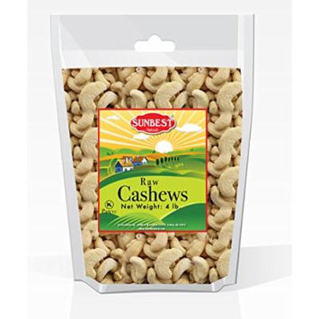 SUNBEST Natural Shelled Whole Raw Cashews (4 Lbs.) in Resealable Bag