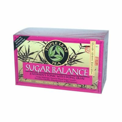 Triple Leaf Tea Sugar Balance Decaffeinated Tea - 20 Tea Bags - Case of 6 - Gluten Free - Helps Maintain Normal Blood Sugar Levels