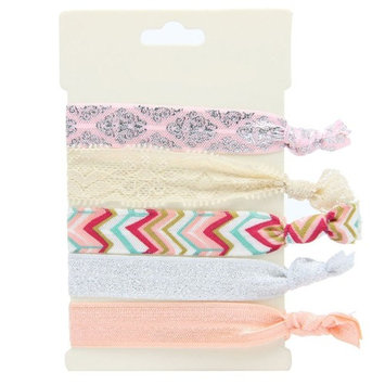 No Crease Elastic Hair Styling Accessories Pony Tail Holder Ribbon Bands, Red Chevron
