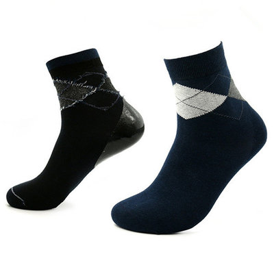 uxcell 1 Pair Men Navy Blue Argyle Prints Moisturising Soften Cracked Skin Gel Heel Socks