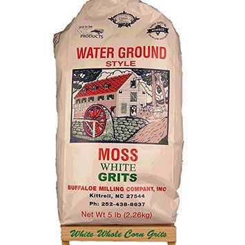 Moss Water Ground White Corn Grits 5 Lbs