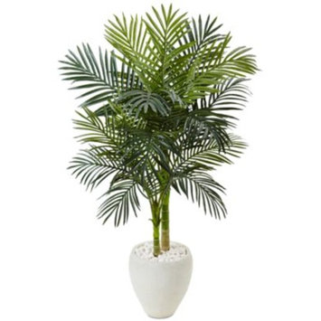 4.5' Golden Cane Palm Artificial Tree in White Oval Planter
