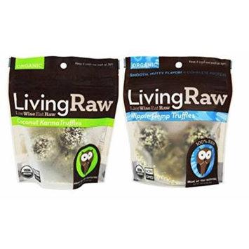 Living Raw Organic Raw Fair Trade Gluten Free Chocolate Truffles 2 Flavor Variety Bundle: (1) Living Raw Hippie Hemp Truffles, and (1) Living Raw Coconut Karma Truffles, 1.64 Oz. Ea.
