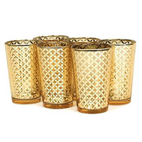 Koyal Wholesale Lattice Glass Votive Cup (Set of 6), Gold, 4 H x 2.5 W x 2.5 D