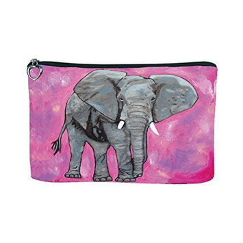Cosmetic Bag, Zipper Pouch - Zip-top Closer - Taken From My Original Paintings - Animals (Elephant-Kelly)