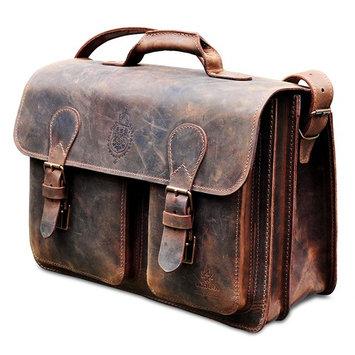 MANNA Leather Laptop Bag for MacBook Pro Retina 15' & Macbook Pro 13' | Briefcase Messenger Teacher Business Bag Size XL | Handmade in Germany | Nubuck Leather | Vintage Brown