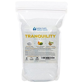 Tranquility Bath Salt 32oz (2-Lbs) - Epsom Salt With Lemongrass & Chamomile Essential Oils & Vitamin C - Enjoy Calming Effects Of This All Natural Bath Soak - No Perfumes No Dyes