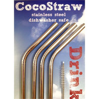 4 Stainless Steel Drink Straws + Cleaning Brush CocoStraw Brand Drinking Straw Metal Washable NON-TOXIC Unbreakable