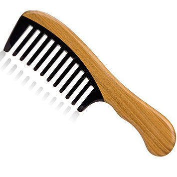 Joyo Handmade Natural Buffalo Horn Wide Tooth Massage Hair Comb with Green Sandalwood Handle 7