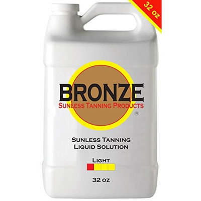 BRONZE - LIGHT - 32 oz - Best Sunless Self Tanning Liquid Spray Tan Solution for Airbrush Spray Tanning Machine - Best Sunless Self Tanning Liquid Spray Tan Solution, Foam Mousse, Lotion, Tanner, Tan