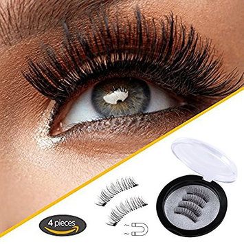 Blisstime Ultra Long Magnetic False Eyelashes(4 PCS) - Cover the Entire Eyelids, Newest Dual Magnetic Eyelash Extensions 3D Reusable Fake Lashes for Women Makeup, No Glue, Natural Look, M-4
