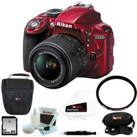 Nikon D3300 DSLR Camera with 18-55mm Lens (Red) with 32GB Accessory Kit