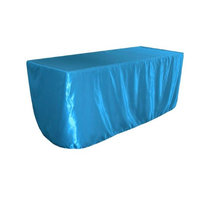 LA Linen TCbridal-fit-72x30x30-TurquoiseB52 Fitted Bridal Satin Tablecloth Turquoise - 72 x 30 x 30 in.