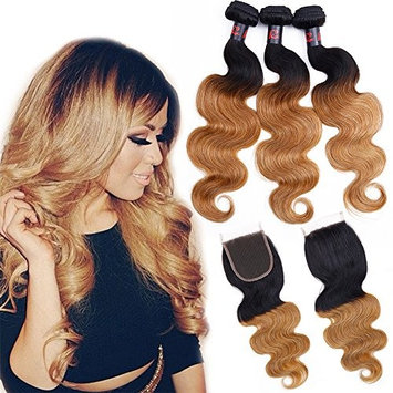 3 Bundles Ombre Hair with Closure Unprocessed Brazilian Virgin Hair with Closure Ombre Remy Human Hair Extensions Weave (12
