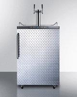 Summit SBC635MDPLTWIN Commercial 5.7 cu. ft. Freestanding Beer Dispenser with Diamond Plated Door Twin Taps Auto Defrost and Digital