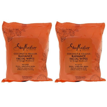 2 pack Shea Moisture Coconut & Hibiscus Facial Wipes, 30 Count