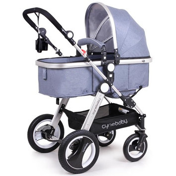 Cynebaby Newborn Baby Stroller for Infant and Toddler City Select Folding Convertible Baby Carriage Luxury High View Anti-shock Infant Pram Stroller with Cup Holder and Rubber Wheels