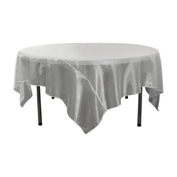 LA Linen TCOrgz90X90-White Sheer Mirror Organza Square Tablecloth White - 90 x 90 in.