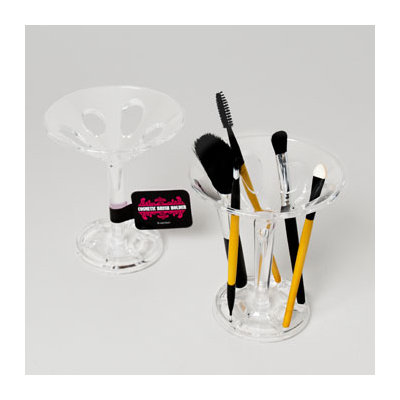 Dollaritemdirect COSMETIC BRUSH HOLDER 6 CAVITY PEDESTAL STYLE CLEAR PS, Case Pack of 24