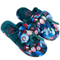 AERUSI Women's Coral Flower Ribbon Bow (with Rhinestone Centerpiece) House / Bed / Restroom Slippers [Single Pair] (Sea Blue)
