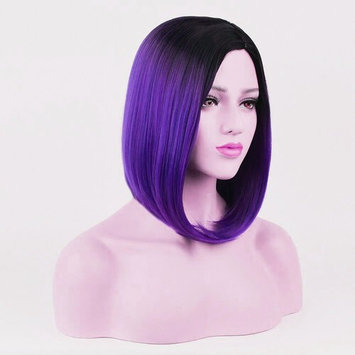 Beshiny Bob Wig Ombre Purple Rose Wigs Dark Roots Short Straight Synthetic Hair Middle Part None Lace Cosplay Daily Party Wig for Women