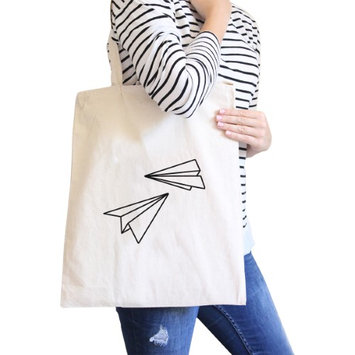365 Printing Inc Paper Airplane Natural Canvas Bag Cute Graphic Printed Eco Bags