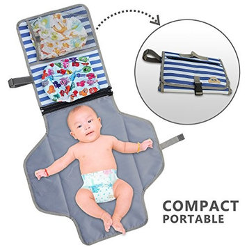 BlueSnail Portable Waterproof Changing Pad, Diaper Clutch, Travel Station Knit for Baby Diapering(Blue Strip)