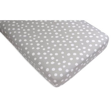Crib Sheet Set Toddler Sheet Set 2 Pack 100% Jersey Cotton Grey and White Abstract Stripes and Dots by Ely's & Co