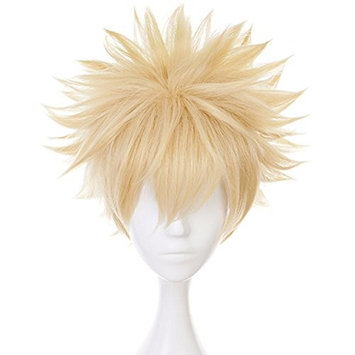 Anogol Hair Cap+Short Wavy Cosplay Wig Blonde Wigs Synthetic Hair for Anime Makeup Costume