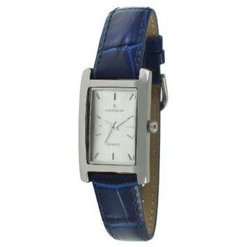 Peugeot Women's silver tone rectangular blue leather strap watch