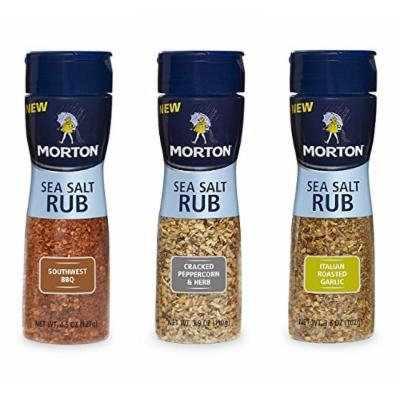 Morton Sea Salt Rubs Variety Pack (Southwest BBQ, Cracked Peppercorn & Herb, & Italian Roasted Garlic)