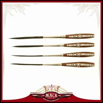 Set of 4 Sizes 000-2 Series Long Bob Pinstriping Scrolling Brush Black Synthetic & Blue Squirrel 1 3/4