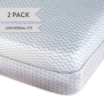 Ely Baby Pack N Play Portable Crib Sheet Set 100% Jersey Cotton 2 Pack - Grey Chevron and Polka Dots