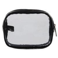 Anna Martina Franco Small Square Top Zip Cosmetic Bag, Clear & Black